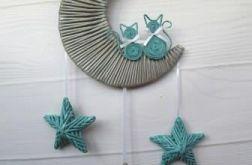 Zawieszka na ścianę księżyc szary/turkus
