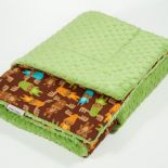 Miękki kocyk minky - zielone łosie - 75x100