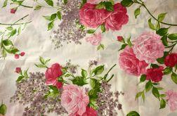 Tkanina bawełna-wzór róże i bzy