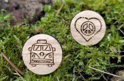Drewniane spinki do mankietów HIPPIE KAMPER