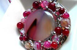 Wisior z agatami, biżuteria artystyczna, rar