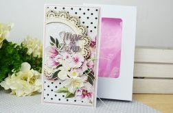 Ślubna kartka z magnoliami w pudełku