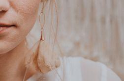Kolczyki ślubne kwiaty cappuccino ivory ecru