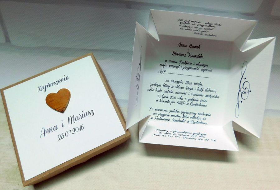 Zaproszenia ślubne pudełko, box, eko