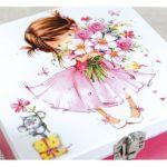 Pudełko decoupage, ~Dziewczynka z kwiatami~ -