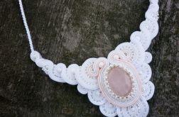 Naszyjnik ślubny sutasz biel ecru róż