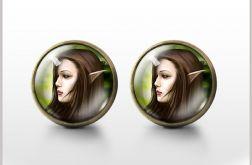 Elf - antyczny brąz - kolczyki wkrętki