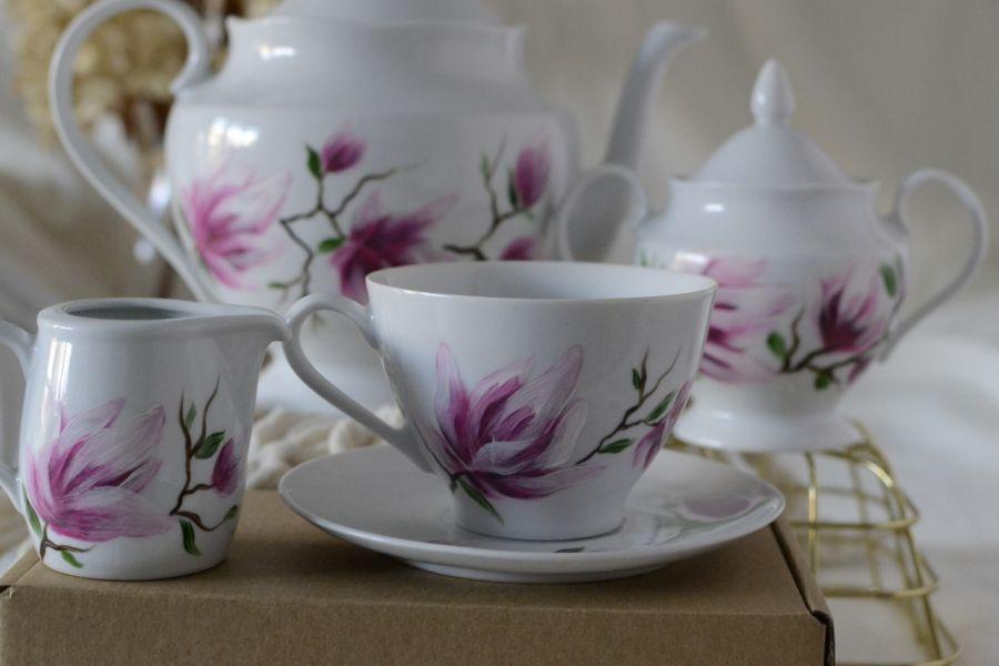 """Filiżanka 250 ml ze spodkiem """"Różowa magnolia"""" - W zestawie 2"""