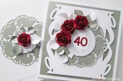Kartka ROCZNICA ŚLUBU z bordowymi różami /Z
