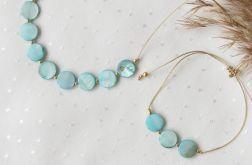 Komplet naszyjnik i bransoletka z turkusową masą perłową