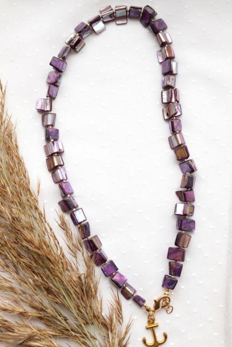 Fioletowy naszyjnik z masą perłową  - Naszyjnik z masy perłowej