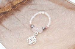 Pierścionek elastyczny - kwarc,rodonit,agat