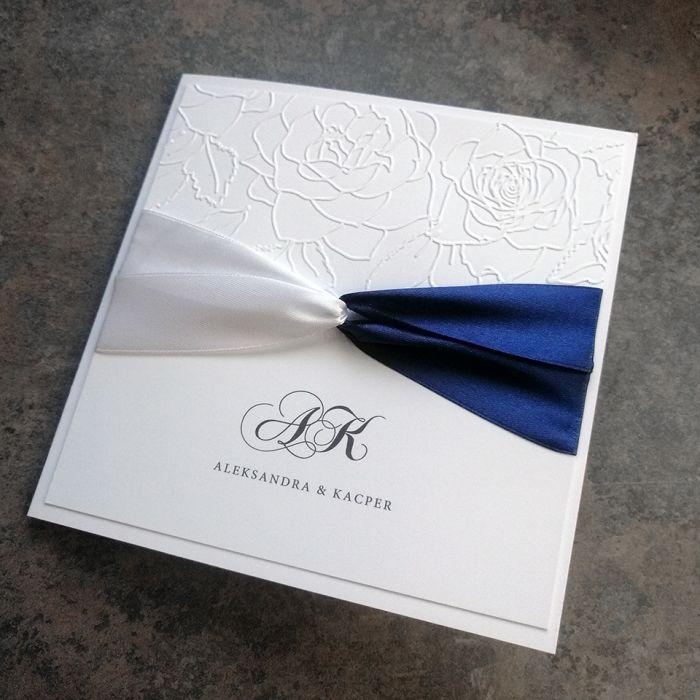zaproszenia ślubne biało granatowe 028