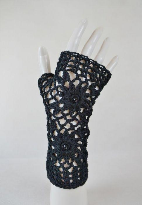Rękawiczki, mitenki handmade czarne - Czarne rękawiczki