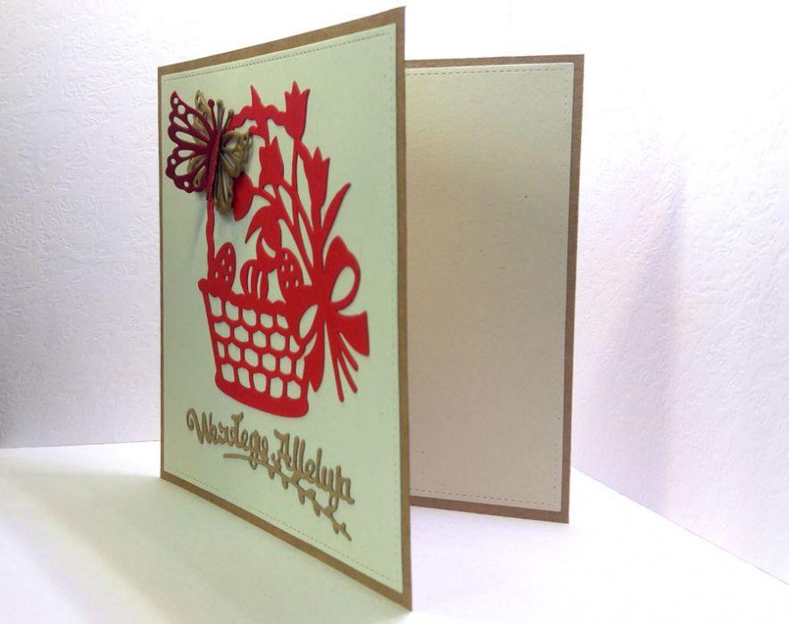 Kartka wielkanocna - czerwony koszyczek nr 2 - do samodzielnego wypisania