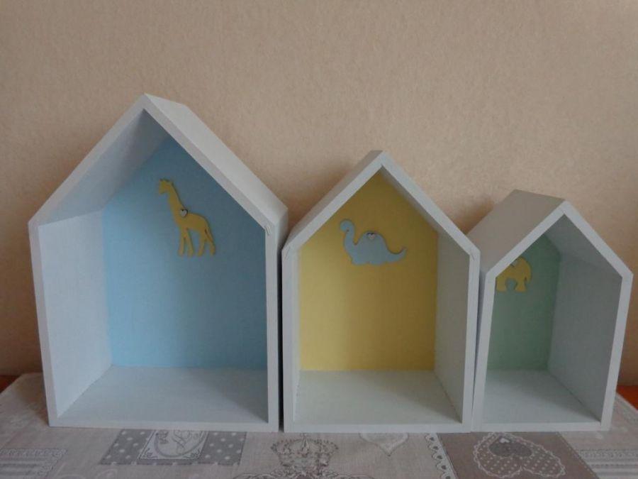 Domek z dinozaurem - Zestaw trzech domków - propozycja
