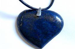 Lapis lazuli w srebrze, duże serce, wisiorek