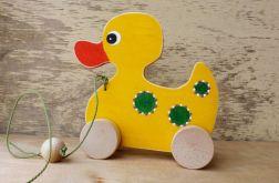Drewniana kaczuszka do ciągania, żółta