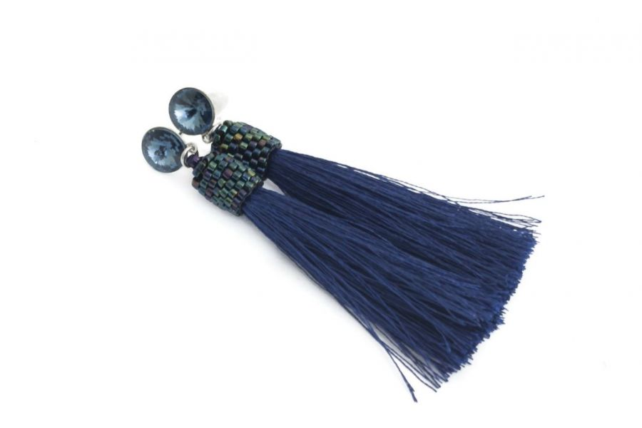 Kolczyki sztyfty chwosty z rivoli denim blue - Kolczyki sztyfty chwosty granatowe z kryształkami rivoli denim blue 2