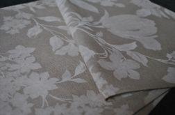 Bieżnik 40 x 100 cm - białe kwiaty na lnie