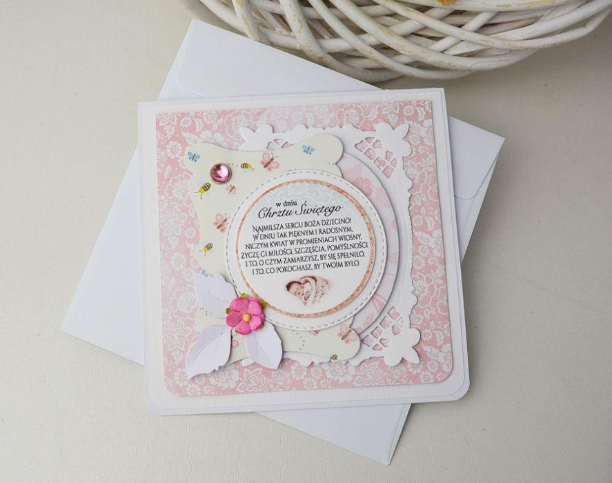 kwiecista kartka na chrzest - róż