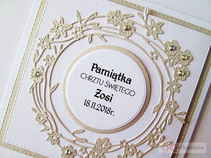Kartka PAMIĄTKA CHRZTU biało-beżowa - Pamiątka Chrztu Świętego z wianuszkiem