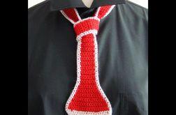 krawat damski dzianinowy czerwony