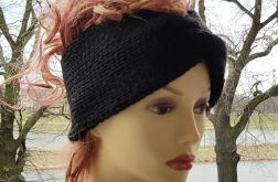 Gruba opaska, handmade, turban, czarna.