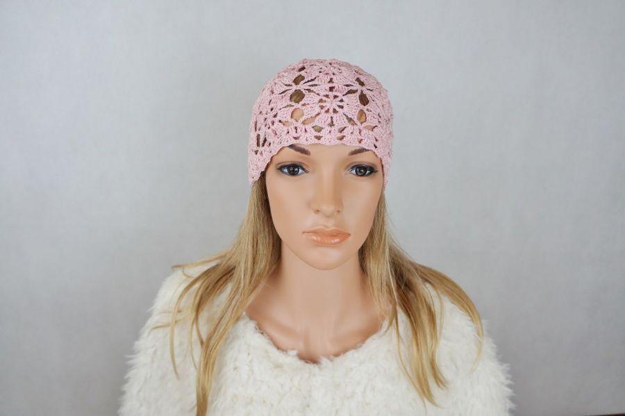 Czapka pink - czapka ażurowa