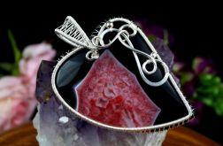 Srebrny wisior z Agatem czerwono czarnym