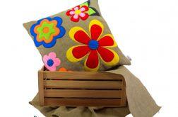 Filcem malowane ~ lniana poduszka ~ kwiaty