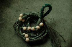 Unikatowy kwietnik makrama sznurek jutowy zielony boho
