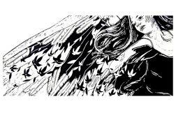Anioł z kwiatami - Linoryt 70x33cm