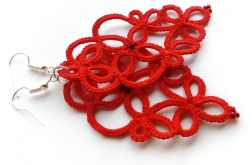 Czerwone kolczyki frywolitki :)