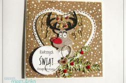 Kartka świąteczna z wesołym reniferem 2