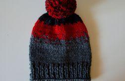 czapka grafit-czerwień