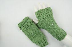 Mitenki ręcznie robione wełna w zieleni
