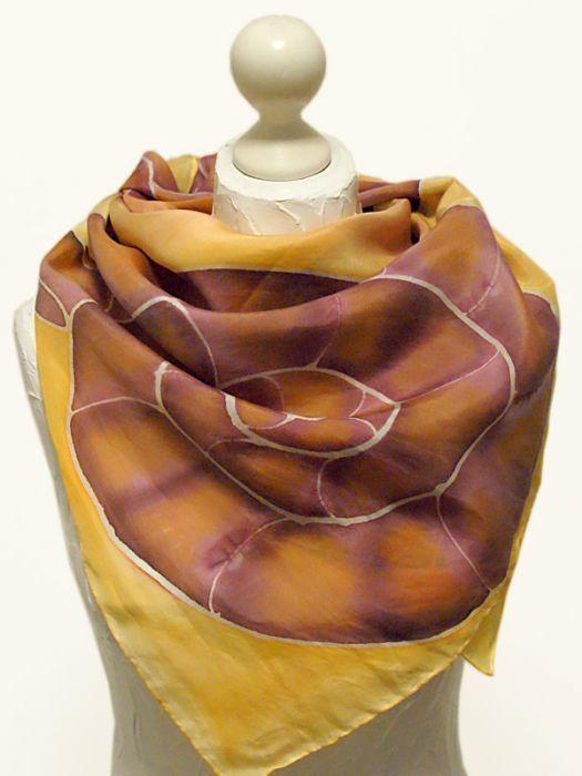 Chusta jedwabna ręcznie malowana - ślimaki