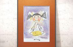 Mała dziewczynka obrazek malowany ręcznie