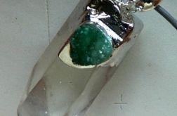 Kryształ górski z kalcytem, efektowny wisior