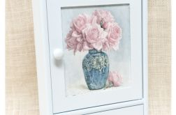 Błękitna szafka na klucze z szufladką, Róże