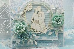 Turkusowy ślub- kartka w pudełku