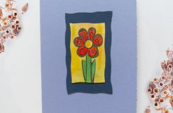 Kartka uniwersalna fioletowa z kwiatkiem 1