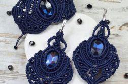 Granatowy, elegancki komplet biżuterii