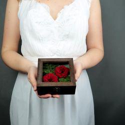 Pudełko na obrączki czerwone dzikie róże