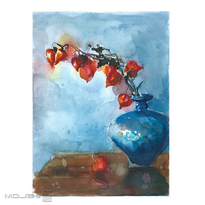 Miechunka w niebieskim wazonie - obrazek malowany