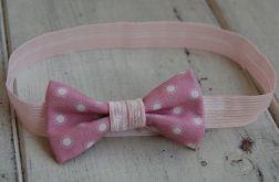 Opaska niemowlęca - Mała, różowa kokardka
