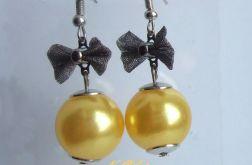 kolczyki żółte perły