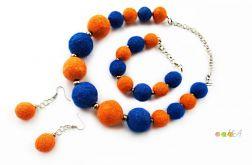 Komplet z filcu niebiesko pomarańczowy