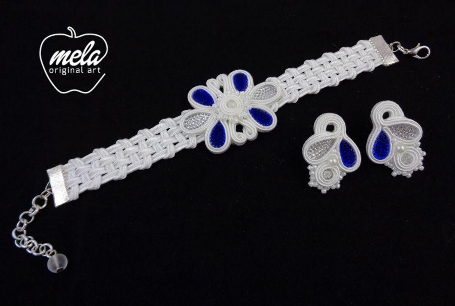 Kpl ślubny sutasz CALION kolczyki bransoleta